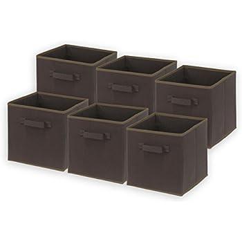 6 Pack - SimpleHouseware Foldable Cube Storage Bin, Brown