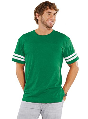 LAT Apparel Adult 100% Adult Vintage Football Jersey Tee [Small]  Vn Green/Bd White  Short Sleeve T-Shirt