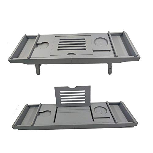 Bathtub Trays HAIZHEN, Bamboo, Adjustable Telescopic Bed Laptop Desk with Wine Glass/Phone Holder /2 Sliding Tray (Gray) by Bathtub Trays (Image #6)