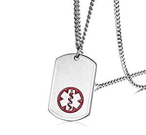 """Personalized Engraving Stainless Steel Emergency Medical Alert ID Dog-Tag Pendant Necklace for Men,24"""" Chain"""
