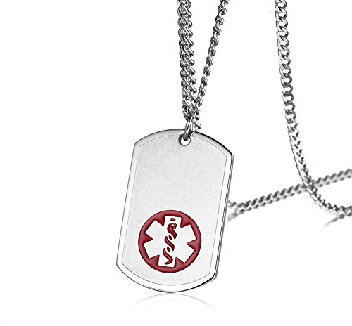 VNOX Free Engraving-Personalized Stainless Steel Medical Alert ID Dog Tag Identification Pendant Necklace,24