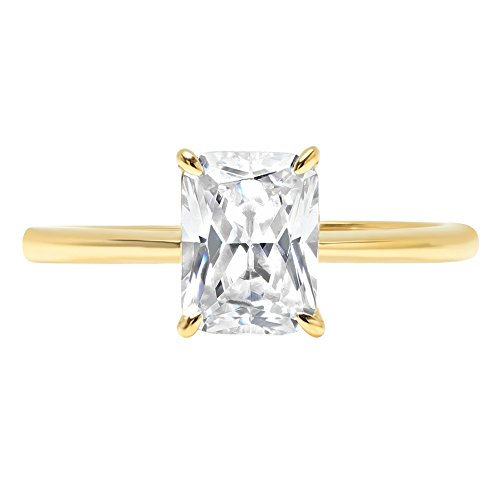 Radiant Brilliant Cut Classic Solitaire Designer Wedding Bridal Statement Anniversary Engagement Promise Ring Solid 14k Yellow Gold, 1.95ct, 9.75 by Clara Pucci