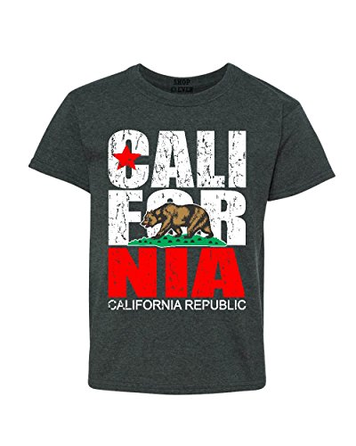 (Shop4Ever California Vintage Youth's T-Shirt Cali Flag Shirts Youth X-Large Dark Heather0)