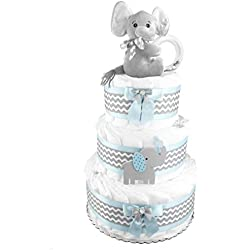 Elephant 3-Tier Diaper Cake - Baby Shower Gift - Blue and Gray
