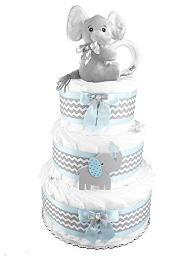 Elephant 3-Tier Diaper Cake - Baby Shower Gift - Blue and Gray from Sunshine Gift Baskets