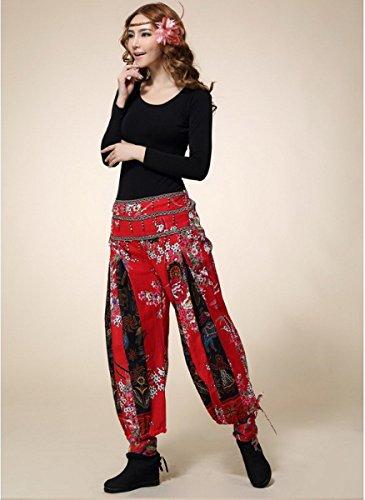 Casual Mujer baggy Aladdin harén Plaid color bloque de deporte Gypsy Capri pantalones Leggings pantalones talla única Rosso