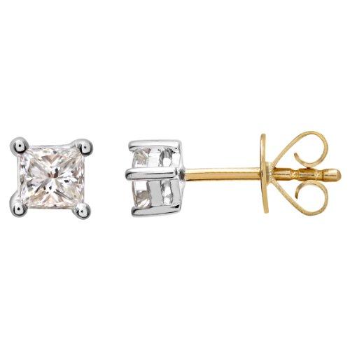 Revoni Bague en or jaune 18carats 1/4carat Diamant coupe princesse certifié J/SI Boucles d'oreilles clous