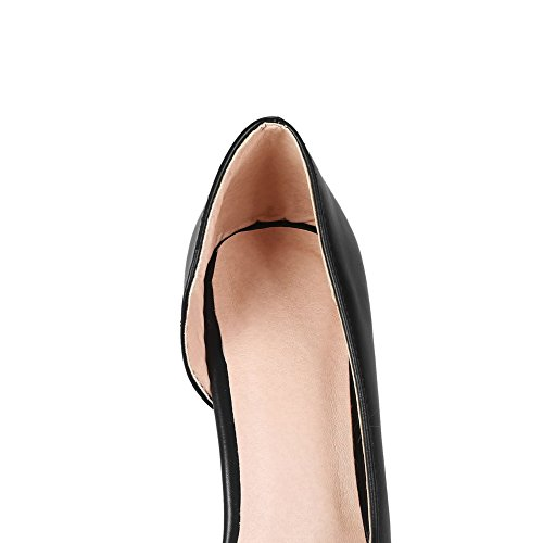 AalarDom Femme Couleur Unie PU Cuir à Talon Haut Tire Chaussures Légeres Noir e9HkMDVT