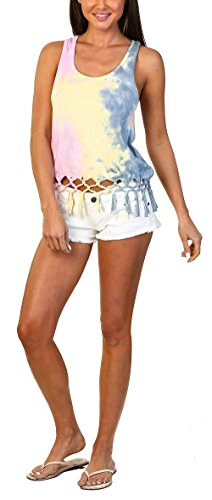 Pastel Tank Ladies Shirt Ribbed (Exist Women Tie Dyed Racerback Tank Top with Knotted Fringes, Pastel (X Large))