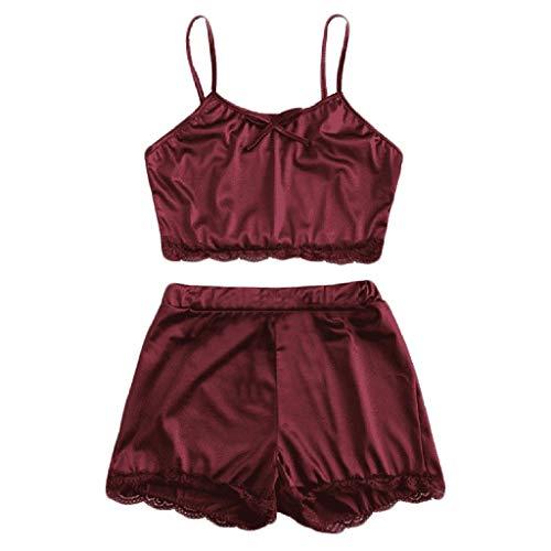 (ALLYOUNG Women's Sleepwear Sleeveless Bow Lingerie Comfortable Nightwear Lace Trim Satin Top Pajama Set Wine)