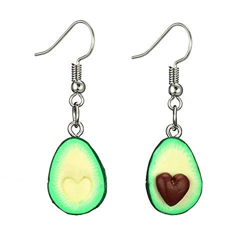 Meiligo Fashion Couples Fruit Jewelry Cute Avocado Charm Necklace Avocado Keychain Set Avocado Dangle Earrings (Earrings Set)