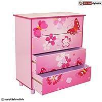 furniture-store24 Children`s Chest 4 Drawers Cabinet Storage Kids Wardrobe Butterfly Pink