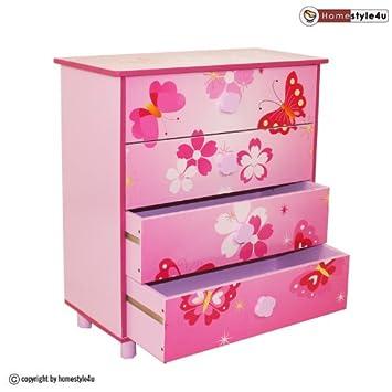 Homestyle4u 647 Kinderkommode Kinderschrank Schmetterling mit 4 ... | {Kinderschrank 56}