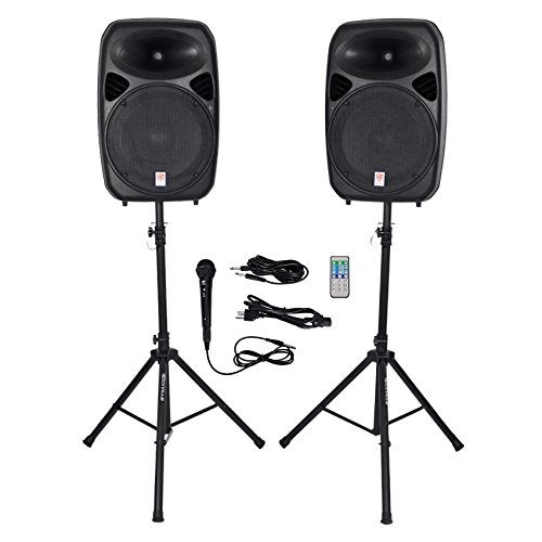 "Rockville RPG152K Dual 15"" Powered Speakers, Bluetooth+Mic+S"