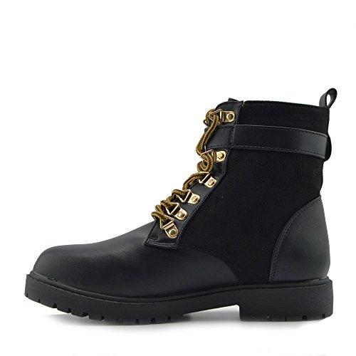 Damen Armee, Arbeiter, Militär Ankle Boots Flach Punk Goth Schuhe Schwarz Wildleder