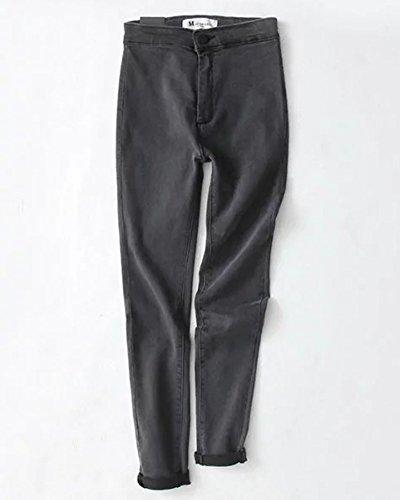Up Gris Jeans Minetom Largos Primavera Alta Cintura Elástico Pantalones Skinny Push Dril Mujer AWqUHaqX