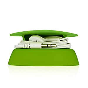 Budley - Tangle-Free Earphone / Earbud Case, Compact Storage System, Silicone (Lime, Set of 1)
