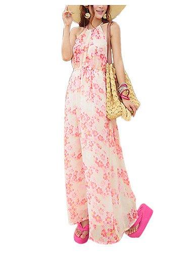 PU&PU Robe Aux femmes Swing Bohème,Fleur A Bretelles Maxi Polyester , pink-l , pink-l