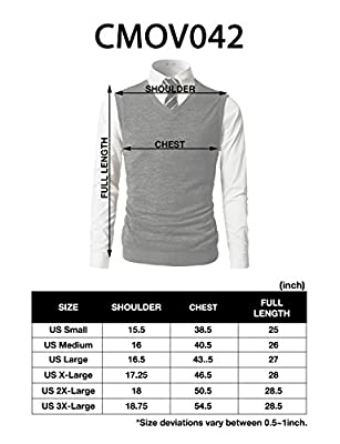 H2H Mens Slim Fit Basic Plain Knitted V-Neck Pullover Sweaters Vest