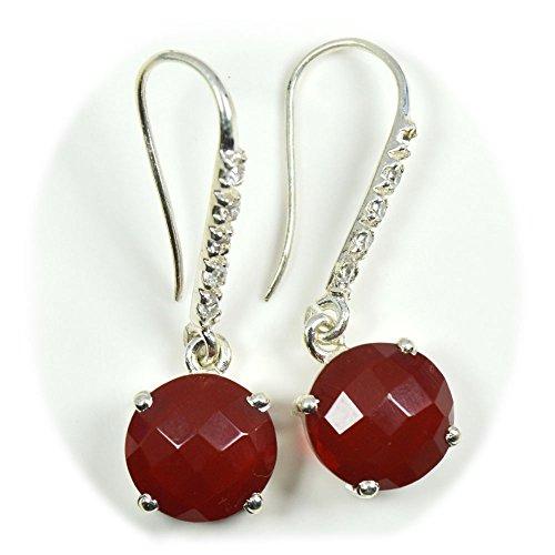 - Gemsonclick Real Round Cut Red Onyx Earring Indian Jewelry Hook Back 925 Sterling Silver Prong Setting