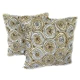 A pair of Beautiful Gold & Silver Thai Silk Pillow Covers Size : 16 X 16 Inches-1006
