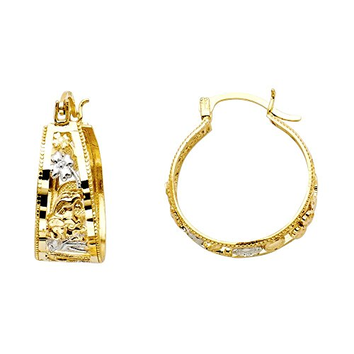 14k Two Tone Gold Flower Design Tapered Hoop Earrings