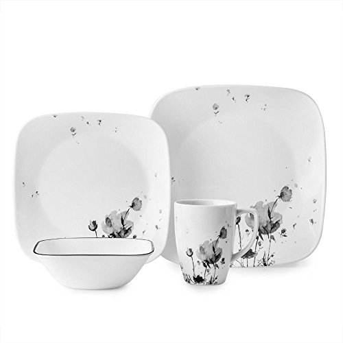 Corelle Square Wildflowers in Shadowy 16-Piece Dinnerware Set, Floral Gray, Service for 4