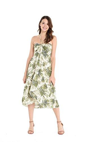 Hawaii Hangover Women's Hawaiian Butterfly Luau Dress in White Green Leaves XS]()