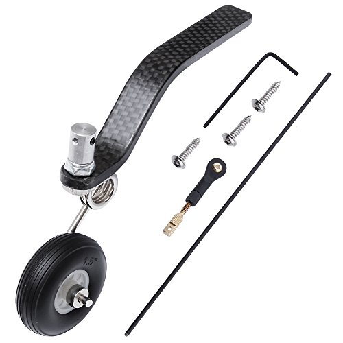 Great Assembly Rc - Hobbypark 50cc Nitro Great Plane Landing Gear Carbon Tail Wheel Assembly 1.5 inches Rubber Tire Kit RC Airplane Replacement Parts