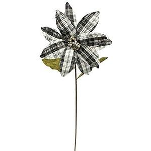 Craig Bachman 11″ Plaid Fabric Poinsettia Stem: Black & White – Halloween Christmas Buffalo Plaid Decorating Stem