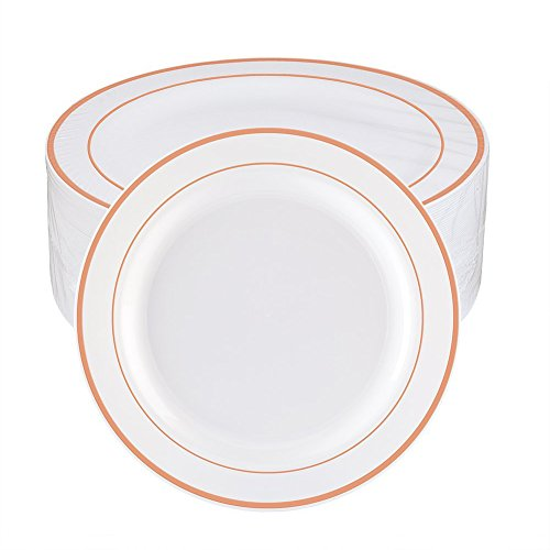WDF 60pcs Disposable Plastic Plates-10.25inch Dinner Plates- Rose Gold Trim Real China Design - Premium Heavy Duty Plastic Plates for Wedding/Parties ()