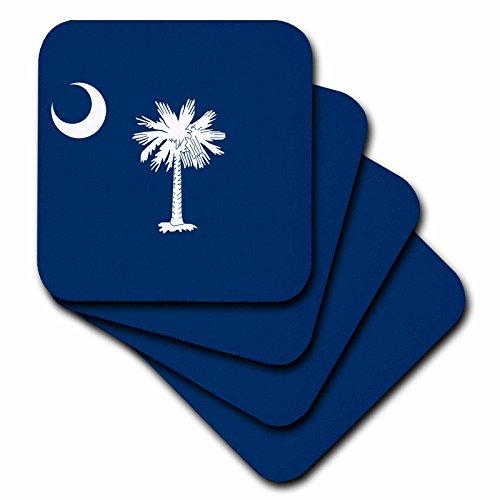 South Carolina State Tree - 3dRose Flag of South Carolina SC - US American United State of America USA White palmetto tree indigo blue - Soft Coasters, set of 4 (cst_158433_1)