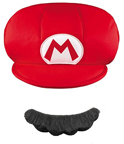Disguise Nintendo Super Mario Brothers Mario Child Hat and Mustache, One Size Child (Mario And Luigi Costumes Kids)