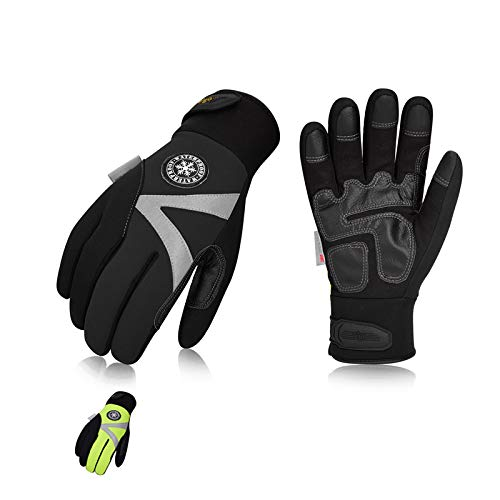 Vgo 2Pairs -4℉ or above 3M Thinsulate C100 Lined High Dexterity Touchscreen Synthetic Leather Winter Warm Work Gloves, Waterproof Insert (Size L, Black,Fluorescent Green,SL8777FW)