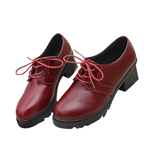 Dear Time Woman Round Toe Lace-up Ankle Boot Red USwRo