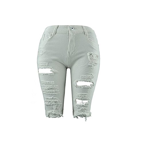 Denim Energie Pants (JSPOYOU Womens Shorts Hole Jeans Denim Pants Casual Denim Destroyed Bermuda Shorts Jeans (US-8/CN-L, White))