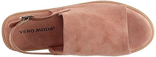 Vero Moda Vmmea Leather Sandal, Sandalias de Talón Abierto para Mujer Rosa (Shrimp)