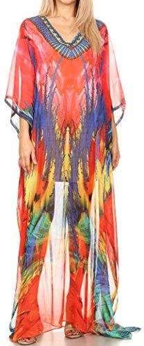 Sakkas P4 - LongKaftan Wilder Printed Design Long Semi Sheer Caftan Dress/Cover Up - 17151-PinkBlue - OS ()