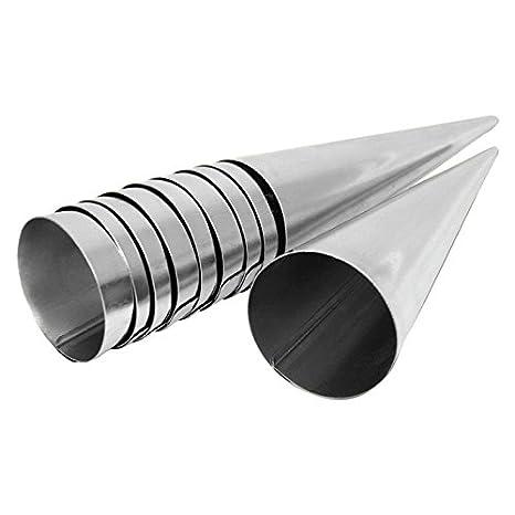 Para hacer barquillos para molde de 10er Set de ollas de acero inoxidable (140 mm x 35 mm) Set de 10 moldes con forma de cono: Amazon.es: Hogar