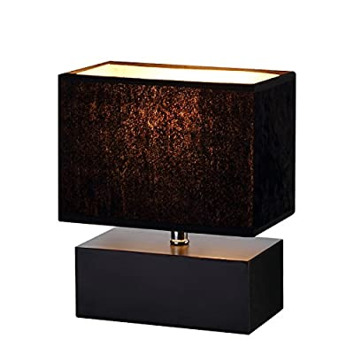 Wooden Table Lamp, Rectangle Wood Box base Bedside Lamp with Velvet Shade, soft light Desk Lamp-Black