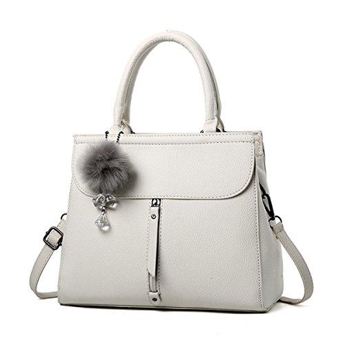 WU ZHI Lady Messenger Bag Bolso De Hombro Bolso De Mediana Edad Mom PU Soft Leather Making Beige