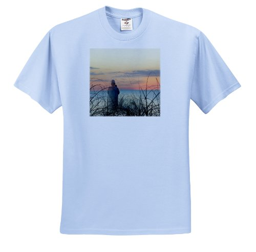 Florene Surrealism - Photographer Superimposed On The Beach At Naples Florida - T-Shirts - Adult Light-Blue-T-Shirt XL - Light Three Naples
