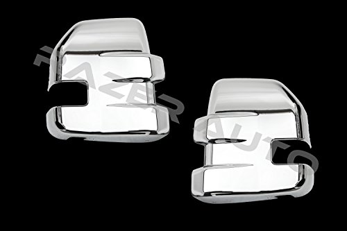 Razer Auto 2015 - 2017 Ford F150, 2017-2018 Ford Super Duty F350, F450, F550, F650 Triple Chrome Towing Mirror Cover w/Turn Signal Hole Overlay Trim (Chrome)