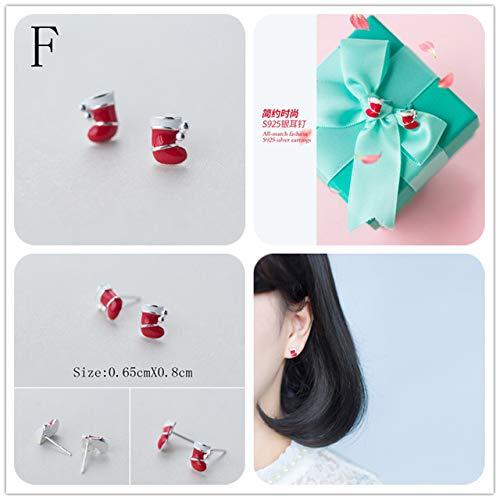 - 925 Sterling Silver Earring | Fashion Cute Snowman Hat Stud Earrings | Gift for Girls Kids Lady (F)