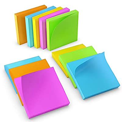 Lesma Sticky Notes Set: 12-Piece Self-Stick Notes 3X3 Inches Set | 100 Adhesive Notes/Pad | Desk Organisation Message Notes in 6 Colour | Medium Sized School, Office & Appointment Reminder Notes