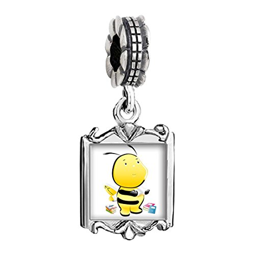 Baby Charms Bee (The Read Book Honeybee Photo Family Mom & Baby Girl & Dad Dangle Bead Charm Bracelet)