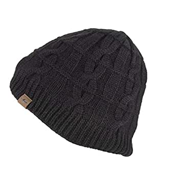 SEALSKINZ Unisex Waterproof Cold Weather Cable Knit Beanie, Black, Small/Medium