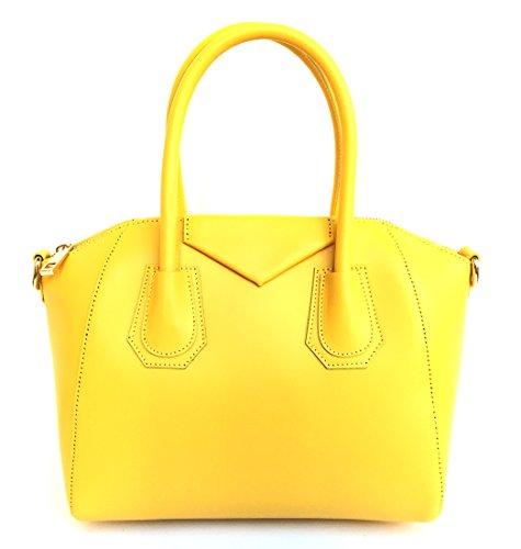 SUPERFLYBAGS Borsa in vera pelle liscia modello Rebecca Mini + tracolla Made in Italy giallo