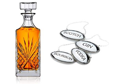 Crystal Whiskey Decanter with Liquor Labels- Includes 4 Engraved Tags SCOTCH, BOURBON, VODKA and GIN & Irish Cut Decanter | Set of 5 ()