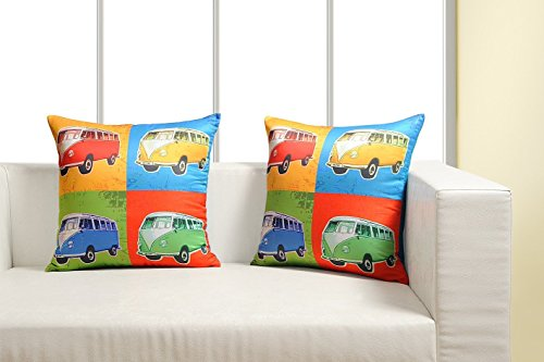Digitally Printed Vibrant Color,Pop Art Dupion Cushion Cover 18 x18 Inch Set of 2 Satin Finish Faux Silk Dupion (Cushion Dupion Silk)